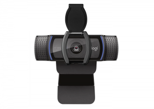 Logitech-C920e-FullHD-Webcam-front-view-with-privacy-shutter